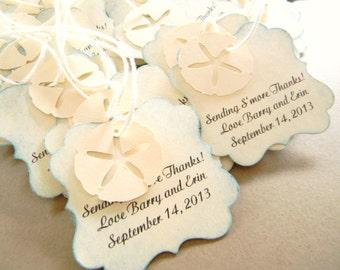 Beach Wedding Favor Tags for Bags Starfish Sand Dollar tags