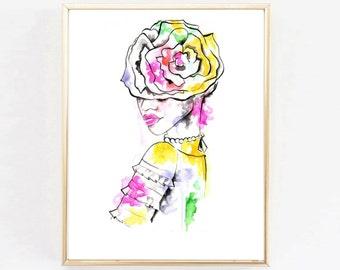 "Fashion Art Print  ""Giant Flower Hat"" | bright home decor | watercolor print"