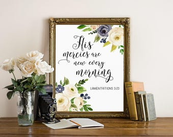 Christian wall art, His mercies are new every morning, biblical wall art, bible quote print, scripture art, bible verse print, digital print