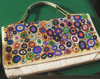Original Seventies leather handbag hand Painted