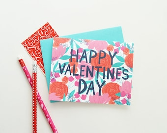 Happy Valentine's Day, I love you, Valentine, Hand lettered, Floral painting, I heart you, Valentine's Day, Stationery, Galentine's Day