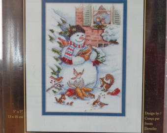 Snowman and Friends cross stitch kit, Dimensions Gold Collection Petites, Winter