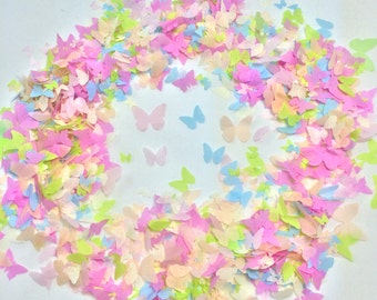 Peach, Ivory, Green, Blue  & Pink Biodegradable Butterfly Confetti Hand made up to 10 small handfuls per box (Tissue Paper Confetti)