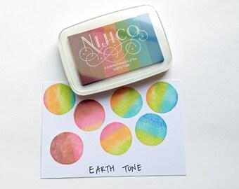 earth tone neon nijico ink pad | tukineko rainbow rubber stamp ink pad | water based non toxic pigment paper ink | embossing | scrapbooking