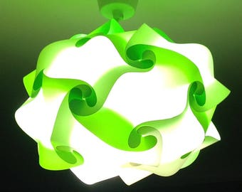 oval light green and white lamp puzzle