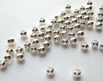 50 Round smooth ball beads silver plated brass 6mm with large 3.5mm hole 1470MB