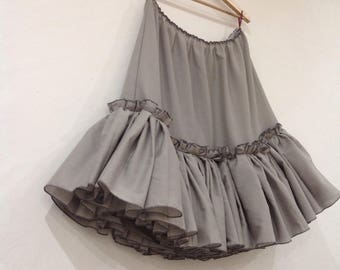 Grey Cotton Petticoat Skirt