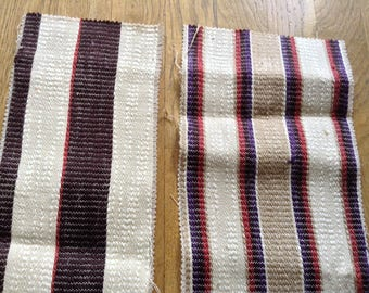 Two ivory cotton canvas striped coupons