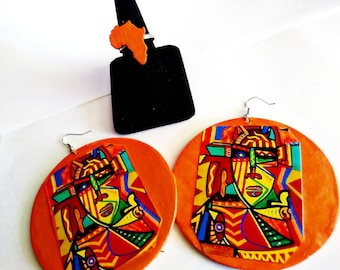 Vibrant abstract African  earrings  and Africa ring set