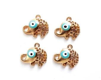 4 Gold Plated Evil Eye Elephant Charms - 21-34-6