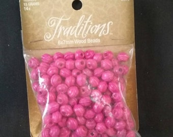 Pink Wooden 6x7 mm Beads, Pink Beads, Unique Wooden Beads, Unused Jewelry Making Supplies, Unopened Package of Beads