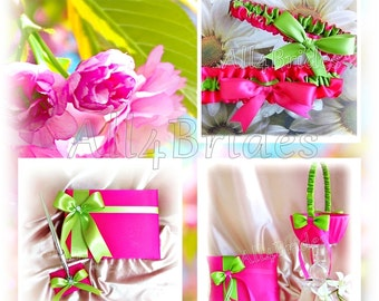Hot pink and green ring bearer pillow, flower girl basket, bridal garters wedding guest book and pen set.
