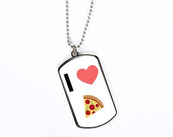 I Love Pizza Emoji Heart, Dog Tag Necklace, Dog Tags Personalized, Gift Idea, Silver Chain, Necklace Chain, DN018