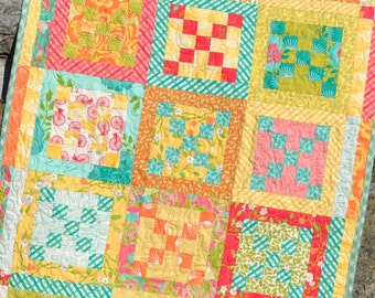PDF Baby Quilt PATTERN..... Lap, Twin, Queen and King sizes included, plus a MINI version, Taste of Spring