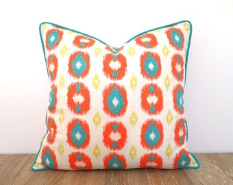 Orange ikat pillow cover bohemian decor, ethnic pillow case orange and turquoise, medallion cushion cover living room decor