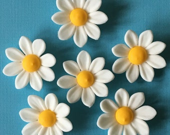 Fondant daisies, Edible sugar flowers cake, cupcake decorations