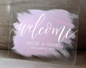 NEW* Custom Wedding Painted Back Acrylic Sign, Acrylic Wedding Sign, Wedding Welcome Sign, Calligraphy Acrylic Sign, Modern Wedding Decor