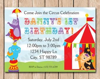 Circus Birthday Invitation | Big Top, Hippo, Elephant, Lion, Juggling, Paper - 1.00 each printed
