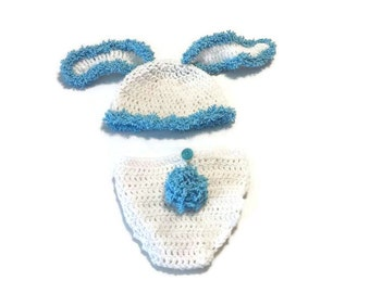 Baby Boy Bunny Crochet Outfit with Long Floppy Ears, Hat and Diaper Cover Set, Fuzzy Rabbit Ears, New Born First Photo