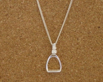 """Stirrup Horse Pendant Sterling Silver Equestrian Gifts 18"""" Chain,Stirrup Jewelry,Equestrian Necklace"""