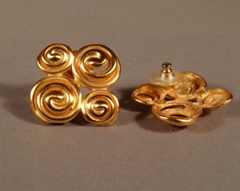 Vintage 1980's Spiral statement earrings in Satin gold tone