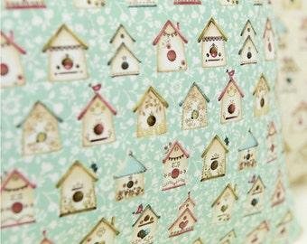 Baumwolle Stoff Vogel Haus Mint von Hof