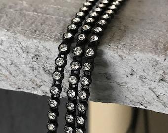2 yards ss6 black crystal rhinestone chain banding Native Beadwork