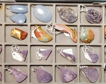 Various Pendants- Angelite, Grapes Chalcedony,  Polychrome Jasper, Burro Creek Jasper, purple light blue red brown