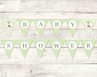 baby shower banner printable DIY bunting banner fox green grey gender neutral polka dots hanging banner digital triangle - INSTANT DOWNLOAD