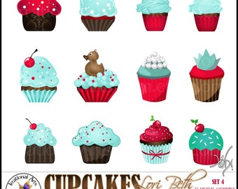 Lori Beth CUPCAKES set 4 with 12 Digital Graphics Clip Art png files Red Teal Aqua Brown kitsch retro 50s cherry cupcake - Instant Download