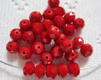 24  Ruby Red Opaque Facected Rondelle Crystal Beads   6mm x 8mm