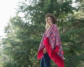 60s Psychedelic Poncho Cape, REVERSIBLE Vintage Tapestry Knit Shawl w Fringe, Red White + Blue Boho Paisley Hippie Poncho 1970s Afghan Coat