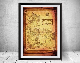 Game of Thrones Map, Westeros Map, Game of Thrones Print, Game of Thrones Poster, Wall Art, Game of Thrones Art, Home Decor, Westeros Poster
