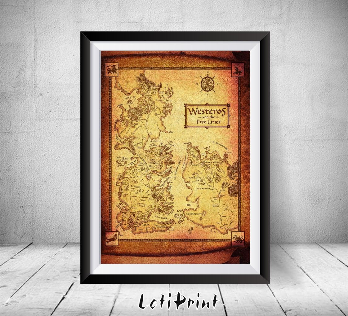 Game of Thrones Map Westeros Map Game of Thrones Print Game
