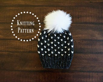 PATTERN // Knit Fair Isle Heart Beanie Pattern // Baby, Toddler, Child, Adult Sizes // The Harlow