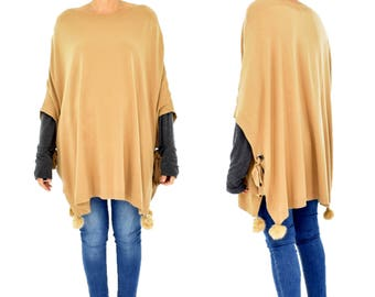 IM600BG Poncho Knit Cape one size laced Pompoms gr. 38-44 Curry