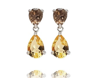 Silver Earrings 925 Rhodium-plated antiallergic drop contrasted with citrine and smoky quartz