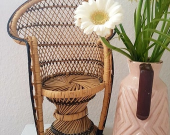 Vintage miniature rattan Peacock Chair, Boho plant stand, peacock doll Chair