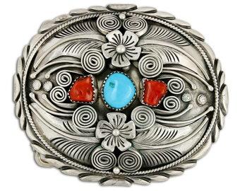 VTG Navajo .925 Sterling Silver Blue Turquoise & Red Coral Belt Buckle