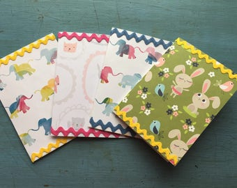 Handmade Cards for Baby with Vintage Ric Rac Trim - Set of 4