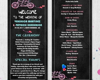 Wedding Ceremony Program Template Printable DIY, Printable Program, Editable Wedding, Bicycle Wedding, #1CM82-1