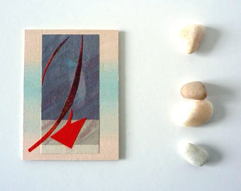 Original mini Collage artwork, abstract mixed media ACEO, cut-out-art, pastel colors