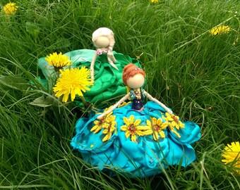 Elsa and Anna~ Bendy Dolls ~ Frozen Winter ~ Designer Waldorf Flower Dolls