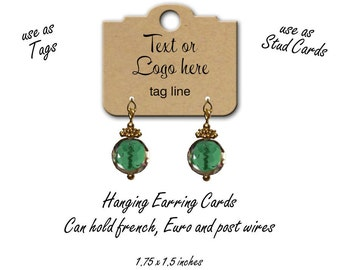 Earring Cards, Hanging Earring Cards, Tags, Custom Earring Cards, Jewelry Display, Stud Earring Cards, Custom Tags, Jewelry Tags, tag 2