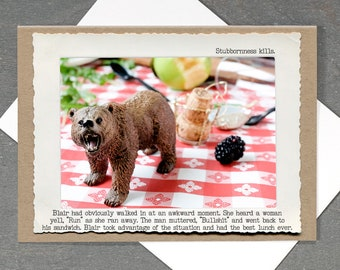 Friendship Greeting Card • Life Lessons Greeting Card • Camping Card • All Occasion Funny Card • Blank Inside Bear Card