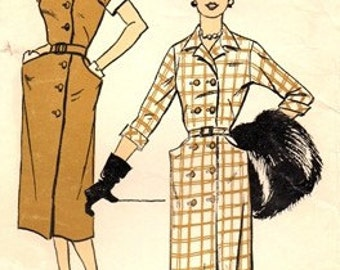 """New York Pattern 1430 Blue Blood """"Attractive"""" Dress / Late 1940's / SZ14 COMPLETE"""