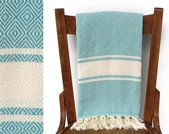 Handwoven Turkish Bath Towel Turkish Towel Luxury Towel Throw Blanket Picnic Blanket Fouta Towel Turquoise FANTASY PESHTEMAL