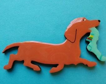 Red Doxie Pin, Magnet or Ornament in Smooth, Wire, Long Hair or Dapple -Free Shipping -Hand Painted Dachshund