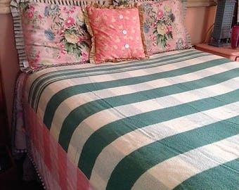 Vintage Cotton Blanket Green and Peach Pink