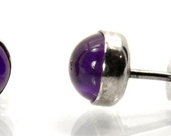 Amethyst Stud Earrings, Sterling Silver Post Earrings, February Birthstone, Bridesmaids Gifts, Abish Jewelry Works